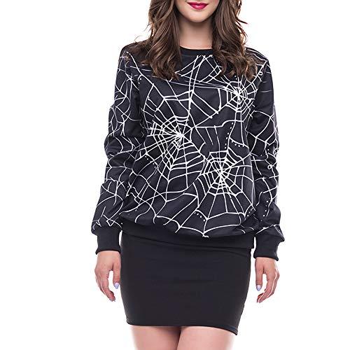 (Frauen Halloween Schädel 3D Pruck Langarm Hoodie Sweatshirt Pullover Top Pumpkins Damen Furchterregende Spinnen Web-Druck-Partei Oberteile (C1-Schwarz,EU:40/CN-M))