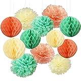 Furuix Mint Green Peach Cream Balls Honeycomb Tissue Papier de soie Papier Pom Pom Hanging décorations en papier pour Baby Shower Bridal Shower Décor de fête d'anniversaire de mariage Décor Décor Wall Hanging Décoration Mint Décor vert