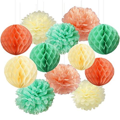 Furuix Babyparty Mädchen Mint Green Peach Cream Tissue Papier Pom Pom Baby Dusche Braut Dusche Geburtstag Dekor Hochzeit Dekor