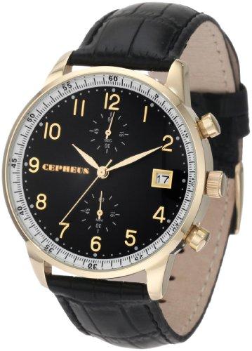 CEPHEUS - CP501-222 - Montre Homme - Quartz - Chronographe - Chronomètre - Bracelet cuir noir