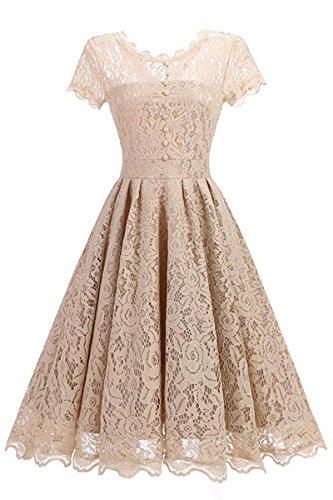 Cocktail Dress Wedding Guest Party Dress with Buttons Floral Lace Dress,Beige,M / UK 12 (Nice Girl Dress Up)
