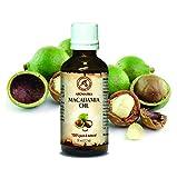 Olio di Noce di Macadamia, 100% naturale e puro 50 ml, bottiglia di vetro, olio di base, ricco di retinolo, olio per il corpo, cura intensiva per viso, corpo, capelli, pelle, mani, anti-invecchiamento, uso puro, ottimo con olio essenziale / per bellezza / aromaterapia / relax / massaggi / benessere / cosmetici / cura del corpo / relax / Idratante / Cura della pelle / non diluito / olio per capelli / ingredienti di qualità / inodore / medicina alternativa di AROMATIKA