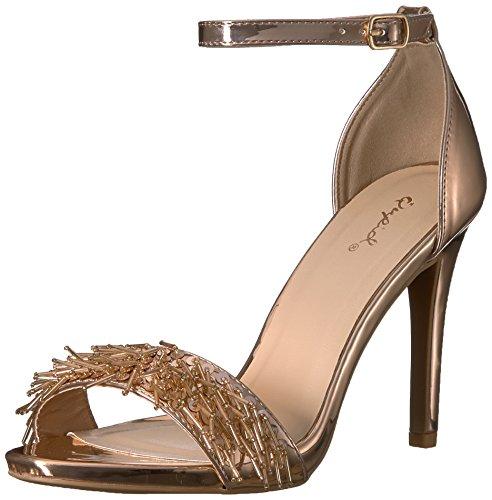 Qupid Damen Single Sole Sandale, Rose Gold, 36 M EU