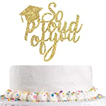 Gold Glitter So Proud of You Cake Topper, Congrats Grad, Done, Congratulations, 2020 Graduation Party Decorations