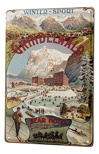 Cartel Letrero de Chapa Gira Mundial Grindelwald