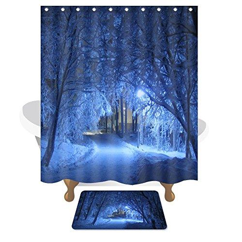 KISlink Duschvorhang Fantasy Fairyland Trail Polyester wasserdicht rutschfest Bad Duschvorhang Bad kreative Abdeckung hängenden Vorhang (Farbe: blau, Größe: 150cm * Duschvorhang)