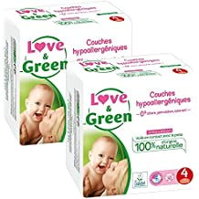 Love & Green - Couches Bébé Hypoallergéniques 0% - Taille 4 (7-14kg) - Lot de 2 x 30 couches (60 couches)