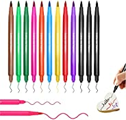 Food Coloring Pens, Upgrade 12Pcs Food Coloring Marker Pens Dual Sided Edible Markers with Fine(0.5mm)and Thic
