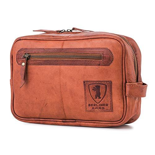 Kosmetiktasche Kulturtasche BERLINER BAGS aus Leder Waschtasche Kulturbeutel Kosmetikkoffer Braun Cognac Vintage M