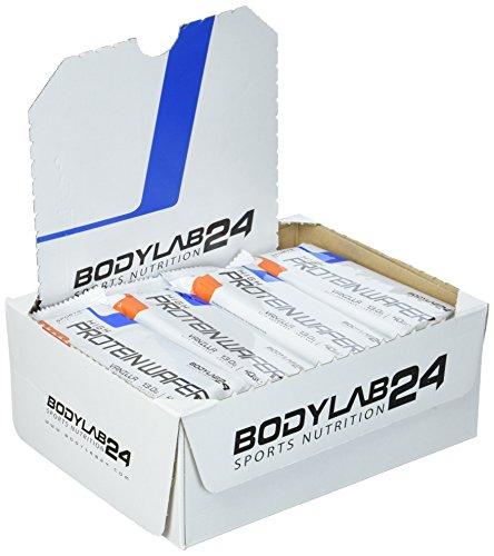 Bodylab24 Protein Waffel, Geschmack Vanille, proteinreiche Waffeln,  leckere Nahrungsergänzung für Fitness, Bodybuilding und Diät, 16 x 40g Packung.