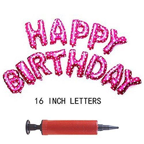 Luftpumpe + 16 Zoll niedliche bunte Alphabet Buchstaben Folie Ballons Happy Birthday Party Dekoration Lieferungen (Pink)