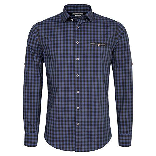 Gweih und Silk Trachtenhemd Body Fit Voitl Zweifarbig in Blau und Dunkelblau, Größe:L, Farbe:Blau