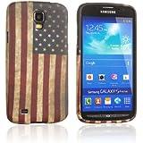 Tinxi Schutzhülle für Samsung Galaxy S4 Active Hülle I9295 Silikon TPU Rückschale Schutz Hülle Silicon Case retro USA Amerika Flagge