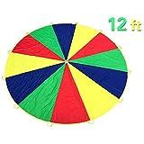 Everfunny jouer Parachute, enfant, 210t Rainbow Play Parachute 12pieds avec 12poignées pour 3–8enfants jouer à des Jeux