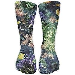 Rundafuwu Underwater Fish Coral Sports Long Casual Sockens High Breathable Socken Unisex 50CM