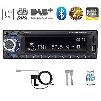 Bosszi-HiFi-Klangqualitt-RDSDABDAB-Autoradio-Digital-Audio-Autoradio-mit-Bluetooth-FreisprechfunktionBTUSBTF-KarteAUX-Wiedergabe-FMAM-Radio-1-DIN-12V-mit-DAB-AntenneFernbedienung