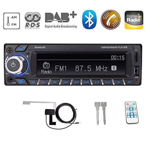 Bosszi HiFi-Klangqualität RDS/DAB/DAB + Autoradio Digital Audio Autoradio mit Bluetooth Freisprechfunktion/BT+USB+TF Karte+AUX Wiedergabe, FM/AM Radio 1 DIN 12V mit DAB + Antenne/Fernbedienung