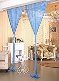 AIZESI Vorhänge Funkelnd Silber Fadengardine Fadenvorhang Verdunklungsvorhänge Schiebevorhänge(Sky blue)