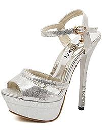 COOLCEPT Mujer Moda Correa de tobillo Sandalias Peep Toe Slingback Tacon de Aguja Zapatos