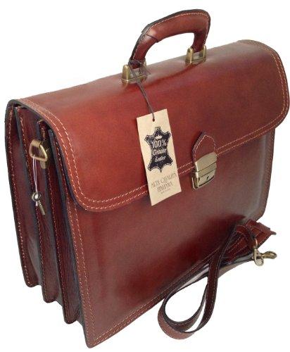 49a8f0c7507021 CTM Borsa Uomo Marrone 24 ore porta documenti, 41x31x18cm, Vera Pelle 100%  Made in Italy