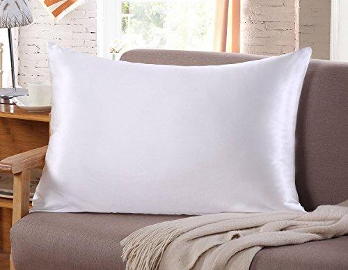 Funda de almohada de seda para pelo y rostro, para prevenir las arrugas, cremallera oculta, 1pieza, color blanco, Blanco, 51*75CM