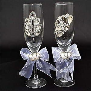 Shatchi 15679-WEDDING-GLASSES-84 - Copas de champán para novia y novio, para decoración de mesa de boda, multicolor