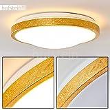 LED Deckenspot in Gold-Optik - Sora Badezimmer Deckenlampe – Deckenlicht auch für Flur, Wohnzimmer, Diele – 3000 Kelvin warmweißes Licht – 1380 Lumen – 18 Watt – runde, 1-flammige Zimmerleuchte