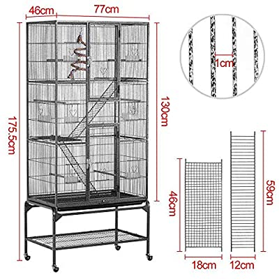 Yaheetech Detachable Parrot Cage Pet Bird Cage With Stand/Wheels for African Grey Sun Conures Parakeets Cockatiels Free Toys by Yaheetech