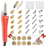 Multifunction Wood Burning Pyrography Pen Kit Tool Soldering Tips + Stencil + Carving