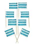 Kogler dekorative Zahnstocher im Bayern-Design, Holz, Blau/Weiß, 30x 30x 7cm, 50Stück