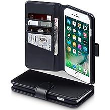 iPhone 8 Plus / iPhone 7 Plus Funda Cartera de auténtico cuero, tapa delantera con billetera para tarjetas - Negro oscuro