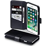 iPhone 7 Plus Case, Terrapin [ECHT LEDER] Brieftasche Case Hülle mit Kartenfächer und Bargeld für iPhone 7 Plus Hülle Schwarz
