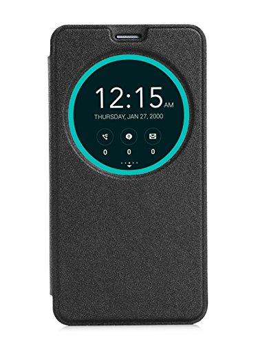 Asus Zenfone 2 Case Hülle,Heavy Duty Book Style Leder Flip Wallet Cover Etui Case Leder Tasche Fall Case mit Weckfunktion / Schlaffunktion für Asus ZenFone ZE551ML/ZE550ML (schwarz)