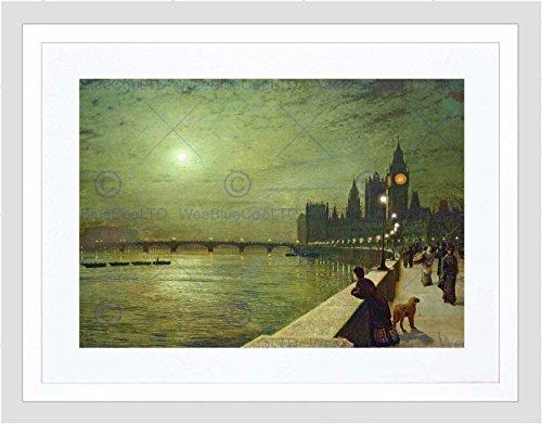 JOHN ATKINSON GRIMSHAW REFLECTIONS ON THAMES 1880 FRAMED ART PRINT MOUNT B12X666