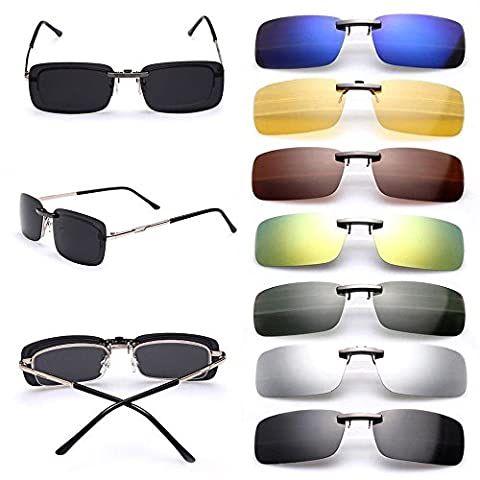New Driving Polarized UV 400 Lens Clip-on Sunglasses Glasses Day Night Vision (Black, Middle)