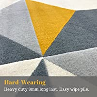 Modern Style Rugs Home Accessories in Geometric Grey, Cream, Mustard, Yellow, Navy, Duck Egg - Diamond Pattern in Soft Touch Large Living Room Rug from Modern Style Rugs