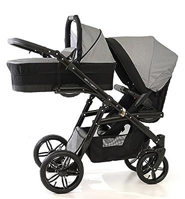 Carro doble (gemelar) niños diferentes edades. 2 sillas + 1 capazo + accesorios. Gris