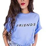 Bonboho Damen Shirts Sommer Süß Partnerlook Freund Shirt Frauen Oberteile Tops T-Shirt Mit Friends Buchstaben Kurzarmshirt Sport Mädchen Outdoor Freizeitkleidung 5 Farben