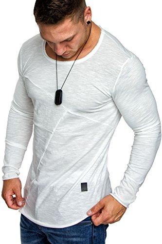 Amaci&Sons Oversize Herren Vintage Longsleeve Crew Neck Rundhals Sweatshirt Basic Shirt 6057 Weiß M