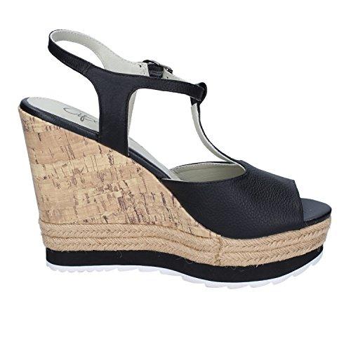 Ape Pazza FRT02 scarpe donna sandali zeppe alte nero Nero