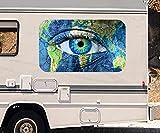 3D Autoaufkleber Auge Welt Karte Erwärmung Weltkarte Wohnmobil Auto KFZ Fenster Motorhaube Sticker Aufkleber 21A307, Größe 3D sticker:ca. 120cmx73cm