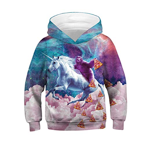 ALISISTER Unisex 3D Sudadera de Unicornio Gracioso Imprimió Drawstring Hooded Pullover Sweatshirt con Bolsillos Niños Clothing Top L