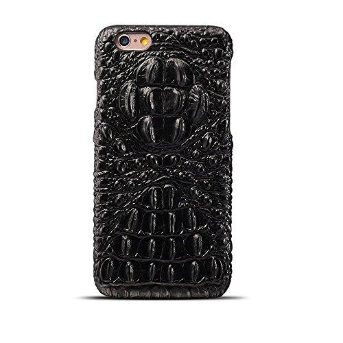 EKINHUI Case Cover Hochwertige Luxus-Krokodil-Korn-Beschaffenheits-echtes Leder-Stoßkasten-Schock-beständige harte rückseitige Abdeckung für iPhone 6 u. 6s ( Color : Brown ) Black