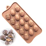 #8: JoyGlobal Silicone 15 Cavity Easter Egg Chocolate Mini Muffins Jelly Mold