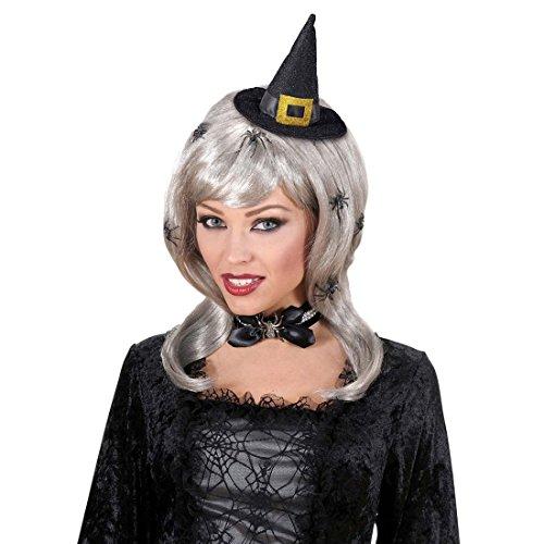 NET TOYS Hexen Mini Hut Kleiner Hexenhut Zauberin Fascinator Spitzhut Hexe Schwarzer Minihut Halloween Kostüm Zubehör