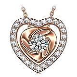 PRINCESS NINA Coeur d'or Collier Femme Argent 925 Plaqué Or Rose avec Zircone...