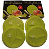 Healthy Portions dieta controllo plates- (4pezzi)–Design innovativo per perdere peso con coperchi–salvagoccia 3-sezioni & riutilizzabile, facile da pulire, forno a microonde e lavastoviglie | senza BPA