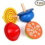 Wooden Spinning Tops For Kids, Set of 4, Handmade Painted Kindergarten Toys Gift for Children - 1.6 Inch in Diameter