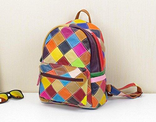 FEN Treillis de personnalité de sacs à main en cuir de mode luttent le sac à dos de couleur de couleur (noir et blanc, coloré)