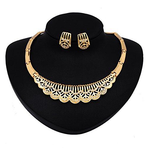 -Set mit Ohrsteckern und Halskette, goldfarben, Retro-Stil, Design mit Cut-Outs und Strass, Ohrringe und Halskette im Set (Ostern Cut Outs)